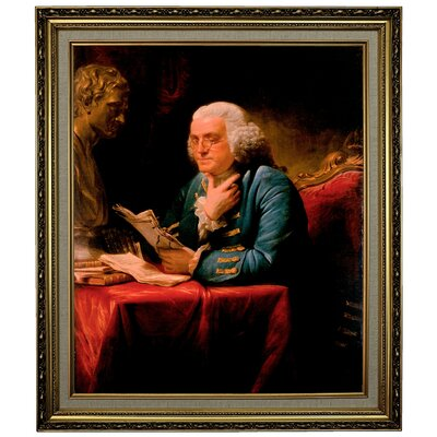 'Benjamin Franklin 1767' Framed Print on Canvas Format: Gold Frame, Size: 28.15
