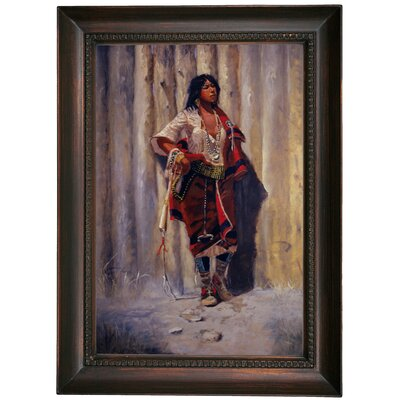 'Indian Maid at Stockade' Framed Oil Painting Print on Canvas Format: Dark Brown Framed, Size: 21.5