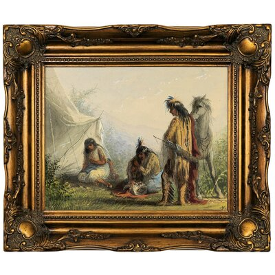 'Indian Courtship 1858' Framed Oil Painting Print on Canvas Format: Dark Gold Framed, Size: 16.5