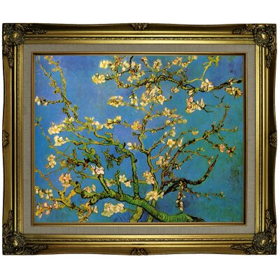 'Blossoming Almond Tree' by Vincent van Gogh Framed Oil Painting Print on Canvas Format: Gray Framed, Size: 25.25'' H x 29.25'' W x 1.5'' D
