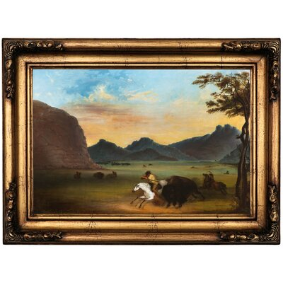 'Buffalo Hunt 1839' Framed Oil Painting Print on Canvas Format: Antique Gold Framed, Size: 16.5'' H x 22.5'' W x 1.75'' D