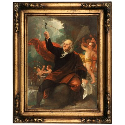 'Benjamin Franklin Drawing Electricity' Framed Oil Painting Print on Canvas Format: Black Frame, Size: 19.5