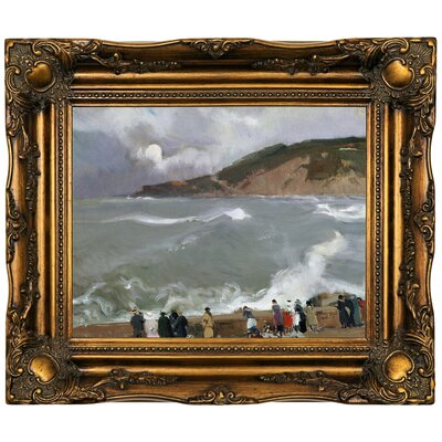 'Breakwater, San Sebastian 1918' Framed Oil Painting Print on Canvas Format: Dark Brown Framed, Size: 16.5'' H x 19.5'' W x 2'' D