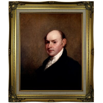 'John Quincy Adams 1818' Framed Oil Painting Print on Canvas Format: Antique Gold Framed, Size: 25.25