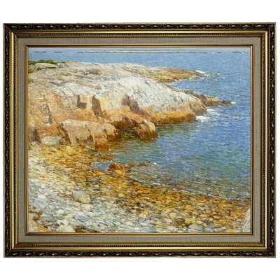 'Isles of Shoals Broad Cove 1911'  Framed Oil Painting Print on Canvas Format: Yellow Framed, Size: 24.15