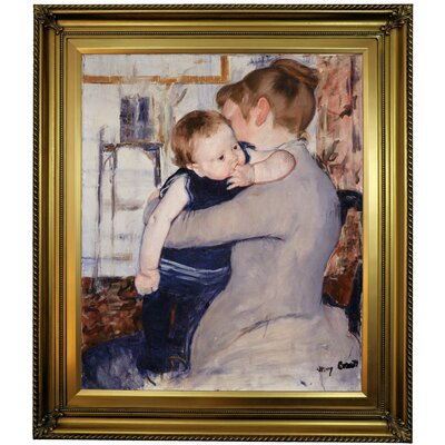 'Mother and Child' by Mary Cassatt Framed Oil Painting Print on Canvas Format: Gold Framed, Size: 30