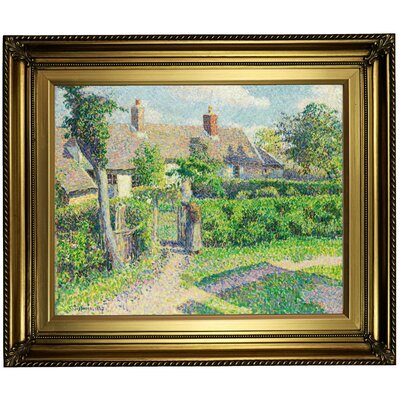 'Peasants houses; Eragny 1887' by Camille Pissarro Framed Oil Painting Print on Canvas Format: Light Gold Framed, Size: 22