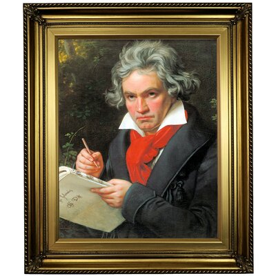 'Portrait of Ludwig van Beethoven When Composing the Missa Solemnis' Framed Oil Painting Print on Canvas Format: Light Gold Framed, Size: 26