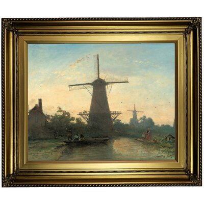 'Mills near Rotterdam 1857' Framed Oil Painting Print on Canvas Format: Light Gold Framed, Size: 22