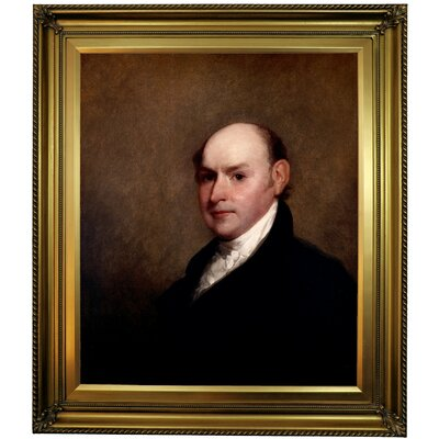 'John Quincy Adams 1818' Framed Oil Painting Print on Canvas Format: Yellow Framed, Size: 30