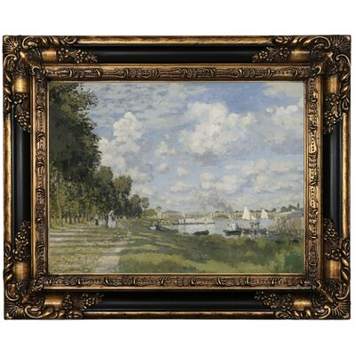 'Bassin d?Argenteuil 1872' by Claude Monet Framed Print on Canvas Format: Brown/Gold Framed, Size: 17.25
