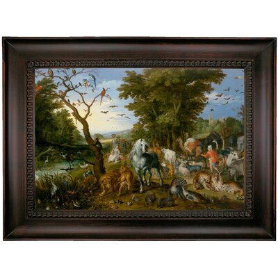 'The Entry of the Animals into Noahs Ark 1613' Framed Oil Painting Print on Canvas Format: Charcoal Framed, Size: 26