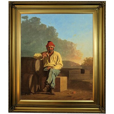 'Mississippi Boatman 1850' Framed Oil Painting Print on Canvas Format: Gold Framed, Size: 30