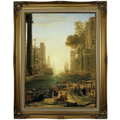 'Landscape with the Embarkment of Saint Paula Romana in Ostia' Framed Oil Painting Print on Canvas Format: Gray/Gold Framed, Size: 29.25