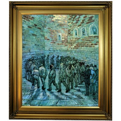 'Prisoners Exercising after Dore' by Vincent van Gogh  Framed Oil Painting Print on Canvas Format: Gold Framed, Size: 30