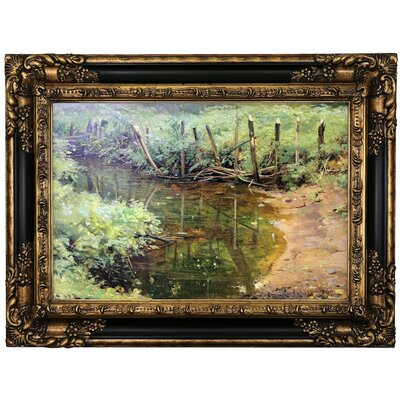 'Dam 1895' Framed Oil Painting Print on Canvas Format: Black/Gold Framed, Size: 17.25'' H x 23.25'' W x 1.5'' D