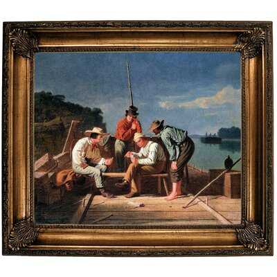 'In a Quandary or Mississippi Raftsmen at Cards 1851' Framed Oil Painting Print on Canvas Format: Bronze Framed, Size: 26.25