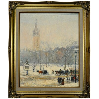 'Snowstorm; Madison Square 1890' Framed Oil Painting Print on Canvas Format: Brown/Gold Framed, Size: 25.25