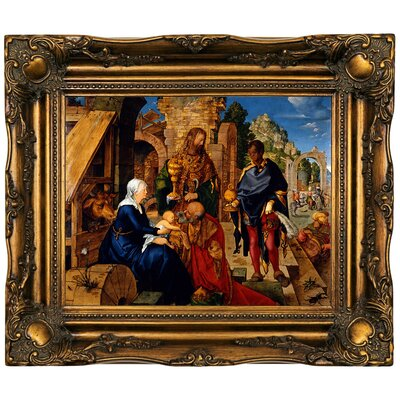 'The Adoration of The Magi 1504' Framed Oil Painting Print on Canvas Format: Dark Gold Framed, Size: 16.5