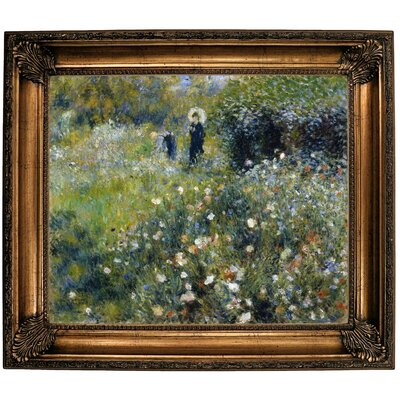 'Woman with a Parasol in a Garden 1875' by Pierre-Auguste Renoir Framed Oil Painting Print on Canvas Format: Bronze Framed, Size: 26.25