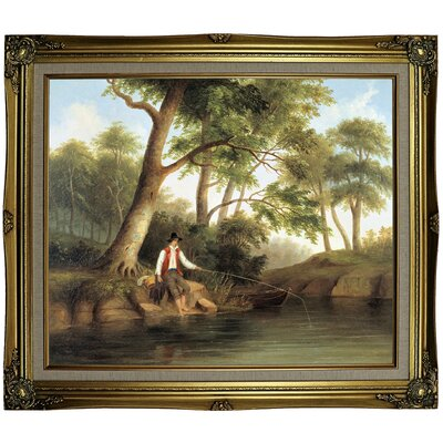 'Man Fishing 1848' Framed Oil Painting Print on Canvas Format: Gray/Gold Framed, Size: 25.25