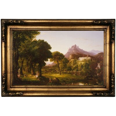 'Dream of Arcadia 1838' Framed Oil Painting Print on Canvas Format: Antique Gold Framed, Size: 16.5