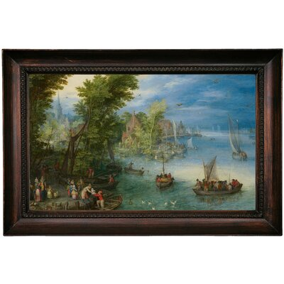 'River Landscape ' Framed Oil Painting Print on Canvas Format: Black Framed, Size: 15.5