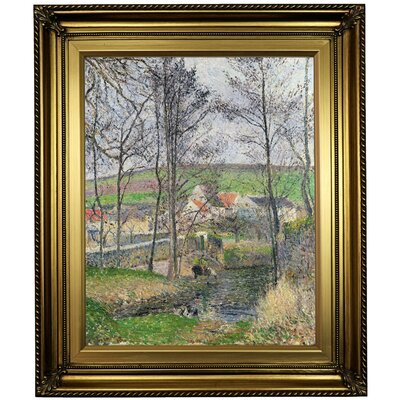 'The banks of the Viosne at Osny in Gray Weather, Winter 1883' by Camille Pissarro Framed Oil Painting Print on Canvas Format: Light Gold Framed, Size: 26