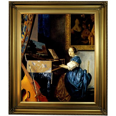 'A lady seated at a virginal' by Johannes Vermeer Framed Print on Canvas Format: Gold Frame, Size: 25.25