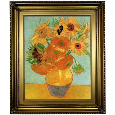 'Still Life Vase with Twelve Sunflowers' by Vincent van Gogh Framed Oil Painting Print on Canvas Format: Light Gold Framed, Size: 26