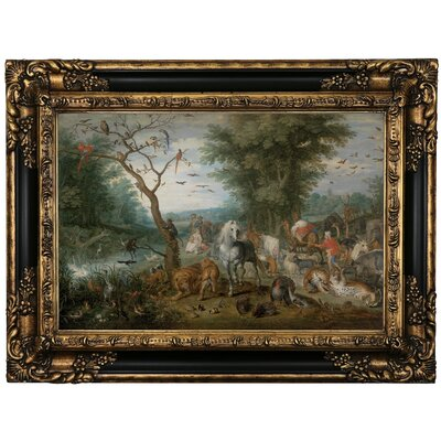 'Paradise Landscape with Animals 1613' Framed Oil Painting Print on Canvas Format: Black Framed, Size: 17.25