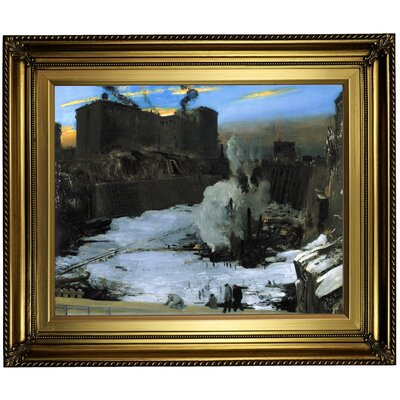 'Pennsylvania Station Excavation' Framed Oil Painting Print on Canvas Format: Gold/Brown Frame, Size: 22