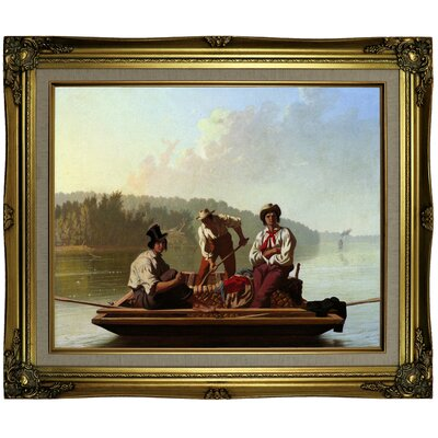 'Boatmen on the Missouri 1846' Framed Oil Painting Print on Canvas Format: Light Brown Framed, Size: 21.25'' H x 25.25'' W x 1.5'' D