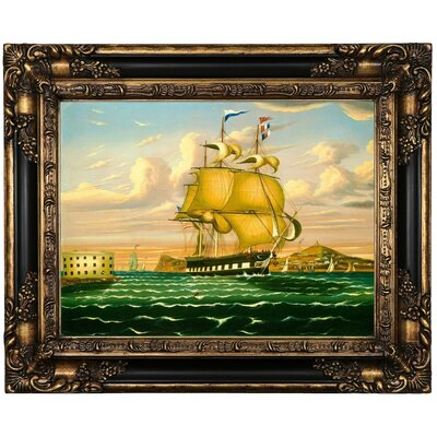 'Packet Ship Passing Castle Williams ' Framed Oil Painting Print on Canvas Format: Brown Frame, Size: 17.25