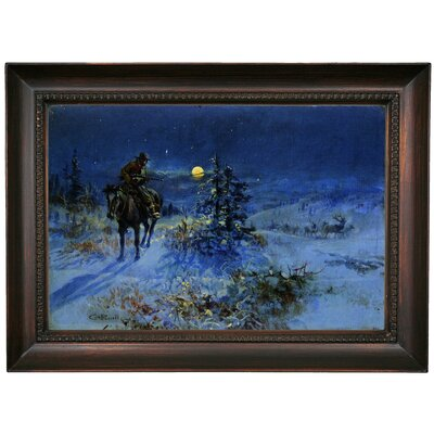 'Joshing Moon' Framed Oil Painting Print on Canvas Format: Chocolate Brown Framed, Size: 15.5