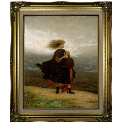 'The Girl I Left Behind Me 1870' Framed Oil Painting Print on Canvas Format: Brown/Gold Framed, Size: 25.25