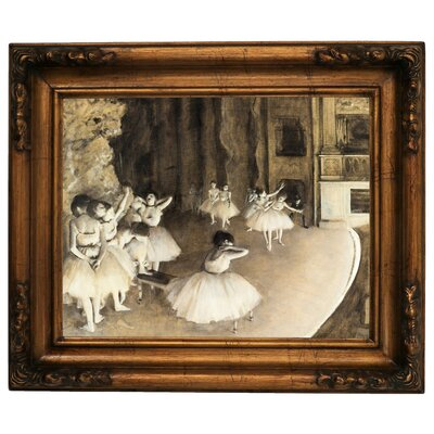'Ballet Rehearsal on Stage 1874' by Edgar Degas Framed Print on Canvas Format: Dark Gold Frame, Size: 15.5