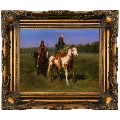 'Mounted Indians Carrying Spears 1890' Framed Oil Painting Print on Canvas Format: Dark Gold Framed, Size: 16.5