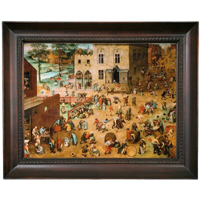 'Children's Games 1560' Framed Oil Painting Print on Canvas Format: Chocolate Framed, Size: 15.5'' H x 19.5'' W x 1.5'' D