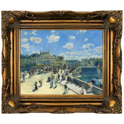 'Pont Neuf; Paris 1872' by Pierre-Auguste Renoir Framed Oil Painting Print on Canvas Format: Dark Gold Framed, Size: 16.5
