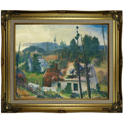 'The Red Vine, Matinicus Island, Maine 1916' Framed Oil Painting Print on Canvas in Gold Format: Brown/Gold Framed, Size: 21.25