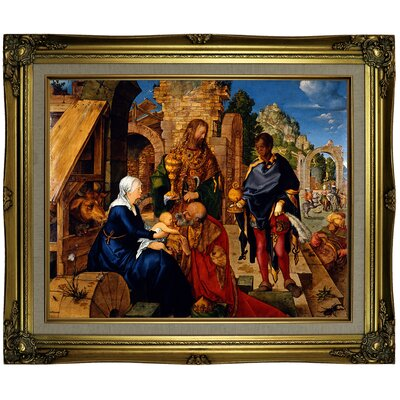 'The Adoration of The Magi 1504' Framed Oil Painting Print on Canvas Format: Brown/Gold Framed, Size: 21.25