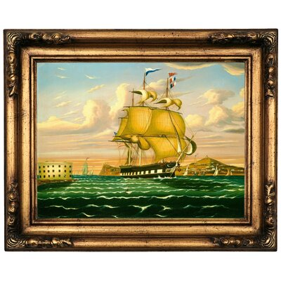 'Packet Ship Passing Castle Williams ' Framed Oil Painting Print on Canvas Format: Gold/Brown Frame, Size: 16.5