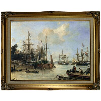 'Harbour ' Framed Oil Painting Print on Canvas Format: Gold/Brown Frame, Size: 23.5