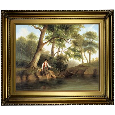 'Man Fishing 1848' Framed Oil Painting Print on Canvas Format: Gold Framed, Size: 22