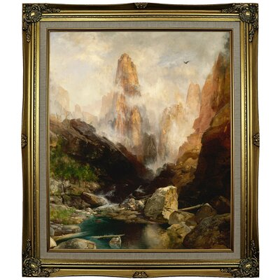 'Mist in Kanab Canyon, Utah' Framed Oil Painting Print on Canvas Format: Black Gold Framed, Size: 29.25