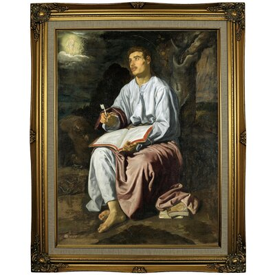 'John the Evangelist from Patmos 1619' Framed Oil Painting Print on Canvas Format: Gray/Gold Framed, Size: 29.25