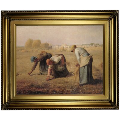 'The Gleaners' Framed Oil Painting Print on Canvas Format: Light Gold Framed, Size: 22