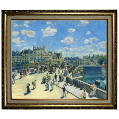'Pont Neuf; Paris 1872' by Pierre-Auguste Renoir Framed Oil Painting Print on Canvas Format: Yellow Framed, Size: 24.15