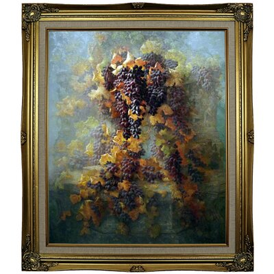 'Grapes and Architecture 1907'  Framed Oil Painting Print on Canvas Format: Black Gold Framed, Size: 29.25